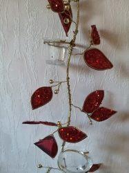 Karácsonyi, piros, levél függődísz, 5 db mécsestartóval
