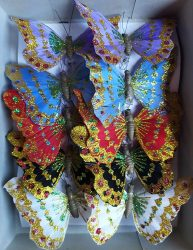 Dekor lepke, pillangó csipesszel 11 cm