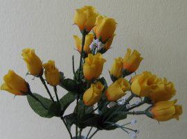 Bimbós rózsacsokor 18 bimbóval citrom  (mű)