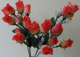 Bimbós rózsacsokor 18 bimbóval narancs (mű)