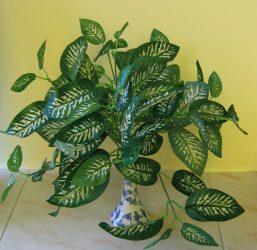 Cserepes sávos-zöld növény, 30 cm (mű)