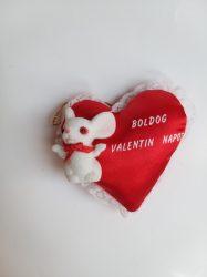 Valentin napi selyem szív, mágneses, egérrel 7 cm szürke, fehér