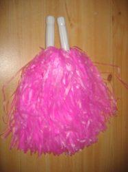 Pom pom rózsaszín színben, nyeles