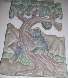 Medvék a fán fali dekor 36 x 25 cm, pasztell