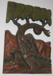 Medvék a fán fali dekor 36 x 25 cm, barna