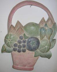 Nagy gyümölcs kosár fali dekor 38 cm, pasztell