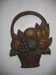 Nagy gyümölcs kosár fali dekor 38 cm, barna