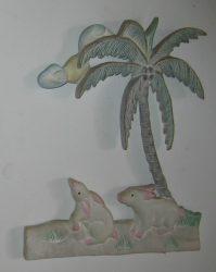 Nyulak a pálmafa alatt fali dekor 32 x 27 cm, pasztell
