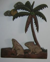 Nyulak a pálmafa alatt fali dekor 32 x 27 cm, barna