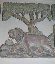 Oroszlánok fali dekor 33 x 27 cm, pasztell