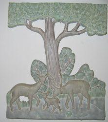 Szarvasok fali dekor 33 x 27 cm, pasztell