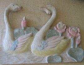 Úszó vadkacsák fali dekor 35 x 26 cm, pasztell