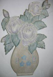 Virág vázában fali dekor 43 x 28 cm, pasztell