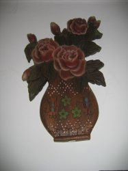 Virág vázában fali dekor 43 x 28 cm, barna