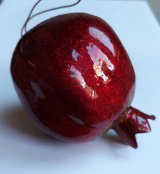 Dísz gránátalma halogén csillogásban 7,5 cm bordó