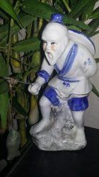 Szobor, nagy porcelán horgász