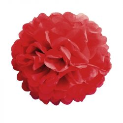 Pom-pom dekoráció, papír 34 cm piros