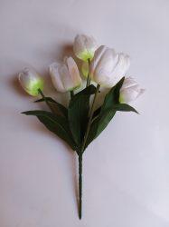 Tulipáncsokor 7 virágos vízcseppes fehér (mű)